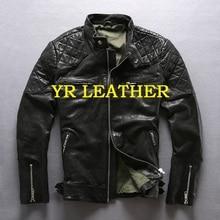 YR!Free shipping.Pakistan tanning sheepskin.cool Beckham motor biker style leather jacket,fashion slim genuine leather coat,