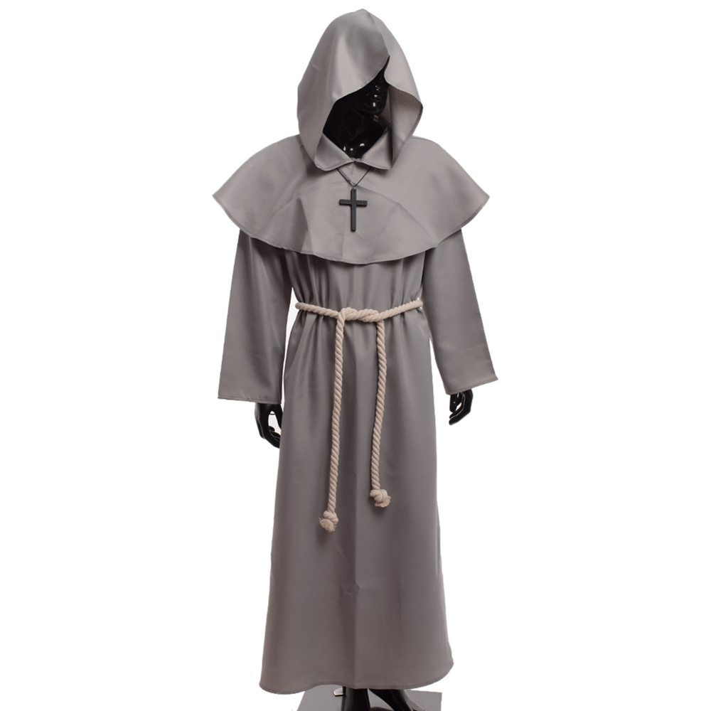 Medeltida kostym män Kvinnor Vintage renässans Monk Cosplay Cowl Friar Priest Halloween Hooded Robe Dress