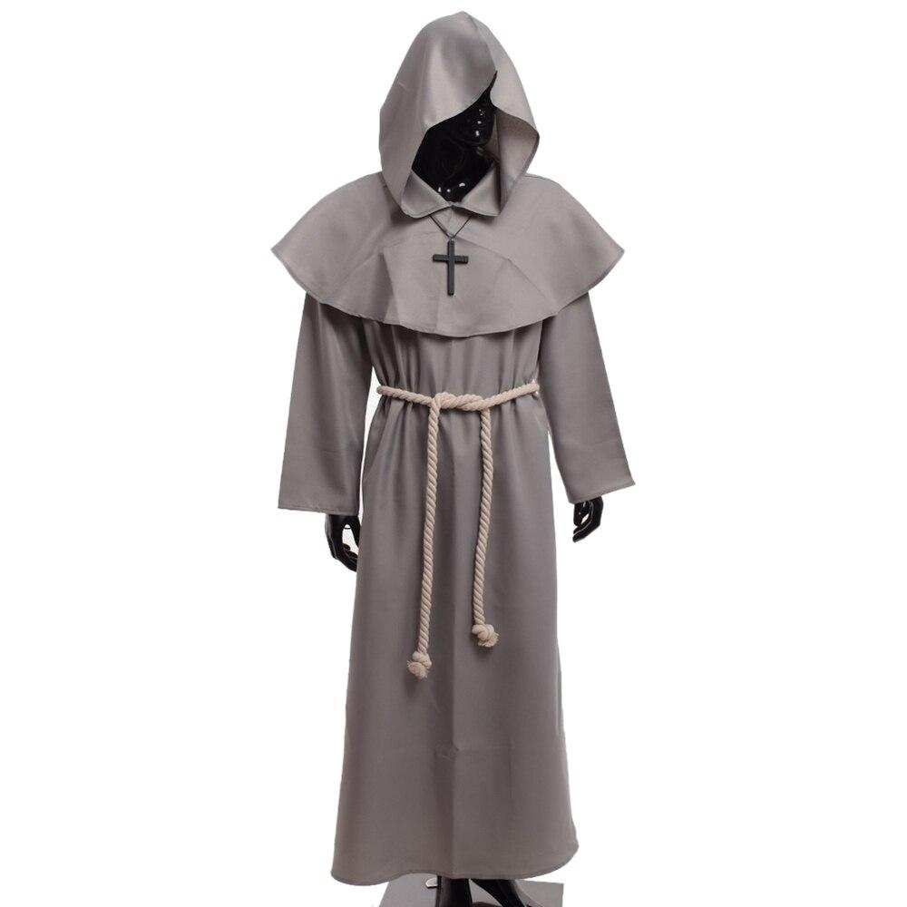 Médiévale Costume Hommes Femmes Vintage Renaissance Moine Cosplay Cowl Frère Prêtre Halloween Robe À Capuche Robe