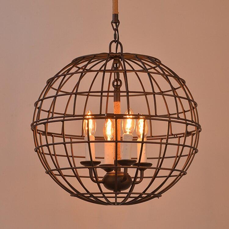 Loft industriële Amerikaanse ruw smeedijzeren globe hennep touw hanger licht D46CM-in Hanglampen van Licht & verlichting op Shop3890023 Store