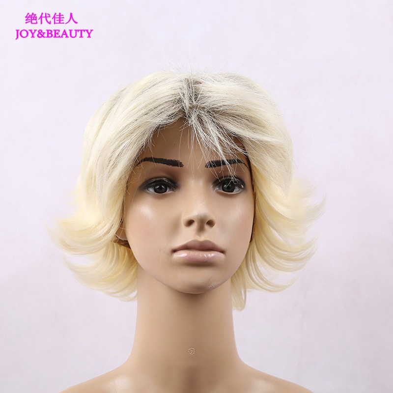JOY&BEAUTY Hair Heat Resistant Synthetic Hair Kinky Curly Synthetic Short Blonde Wigs For Women 12inch Long Free Shipping