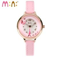 M: n: handgemaakte 3d ppolymer klei quartz casual horloge vrouwen dames jurk mini kinderen meisjes cartoon horloge butterfly en toren