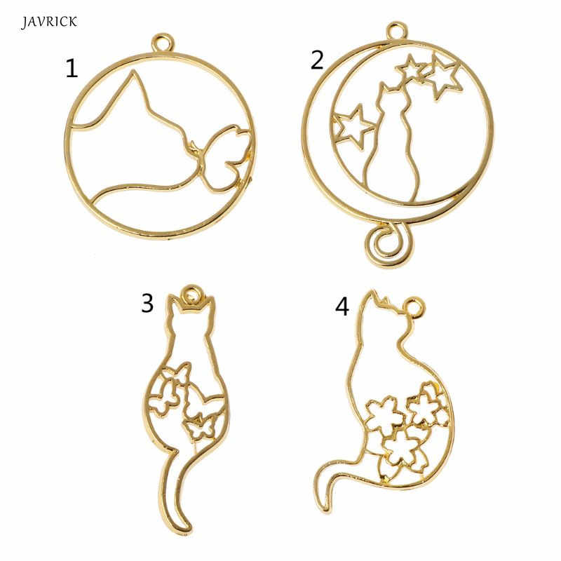 5Pcs Cute Cat Dog Hollow Frames Pendants Bezels Setting Resin Jewelry Making Accessories