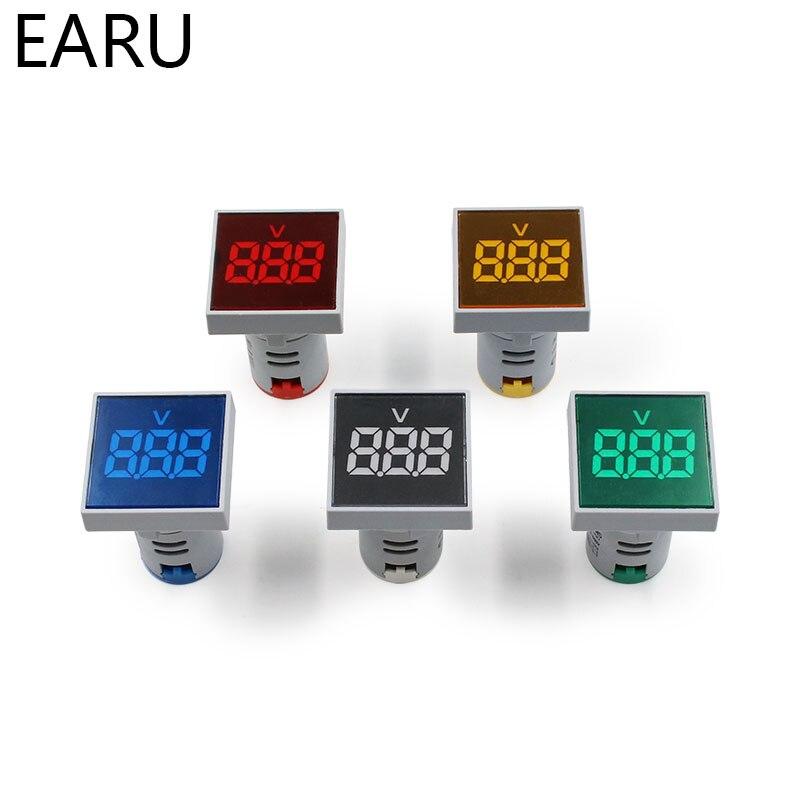 22mm Square DIY Mini Digital Voltmeter AC 12-500V Volt Voltage Tester Meter Monitor Power LED Indicator Pilot Lamp Light Display