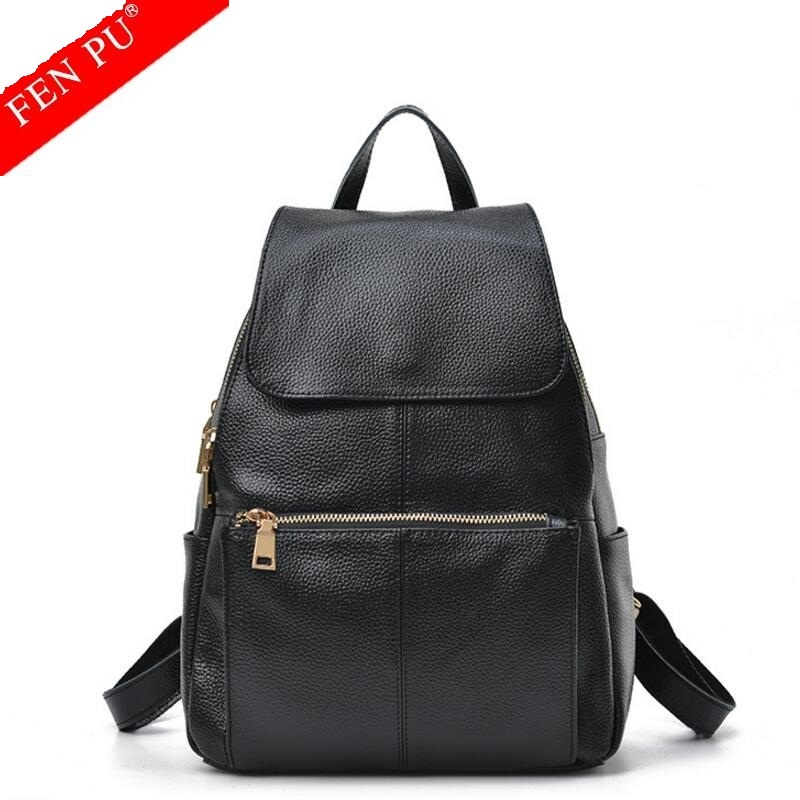 New 2017 100% Real Soft Genuine Leather Women Backpack Woman Korean Style Ladies Strap Laptop Bag Daily Backpack Girl School Bag 2017 new 100