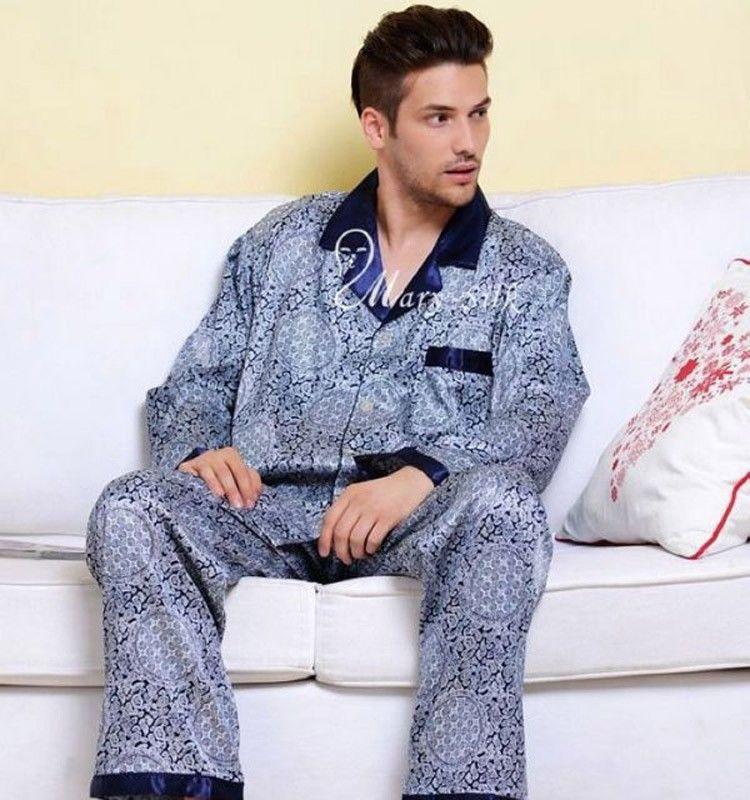 Mens Pijama de Cetim de Seda Conjunto de Pijama Pijamas PJS Sleepwear Conjunto Robe USS Robes Camisola M L XL 2XL 3XL Plus Size Azul Marrom