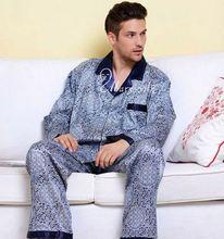 Mens Silk Satin Pyjama Set Pyjama Pyjamas PJS Nachtwäsche Set Robe roben Nachthemd U.S.S M L XL 2XL 3XL Plus Blau Braun