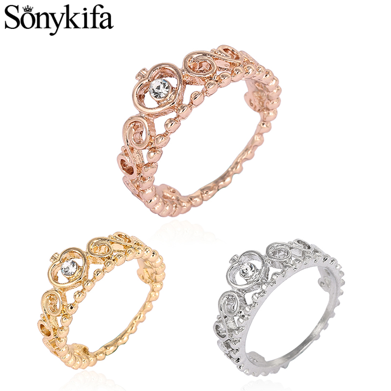 Sonykifa Dropshipping Silver Color My Princess Queen Crown Engagement Pandora Ring with Clear CZ For Women Wife Wedding Jewelry