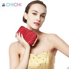 CHICHI Luxus Frauen Kupplung Geraffte Abendtaschen Partei Messenger Bag 2016 Rot Hochzeit Handtasche Berühmte Damen Elegante Schulter Geldbörse