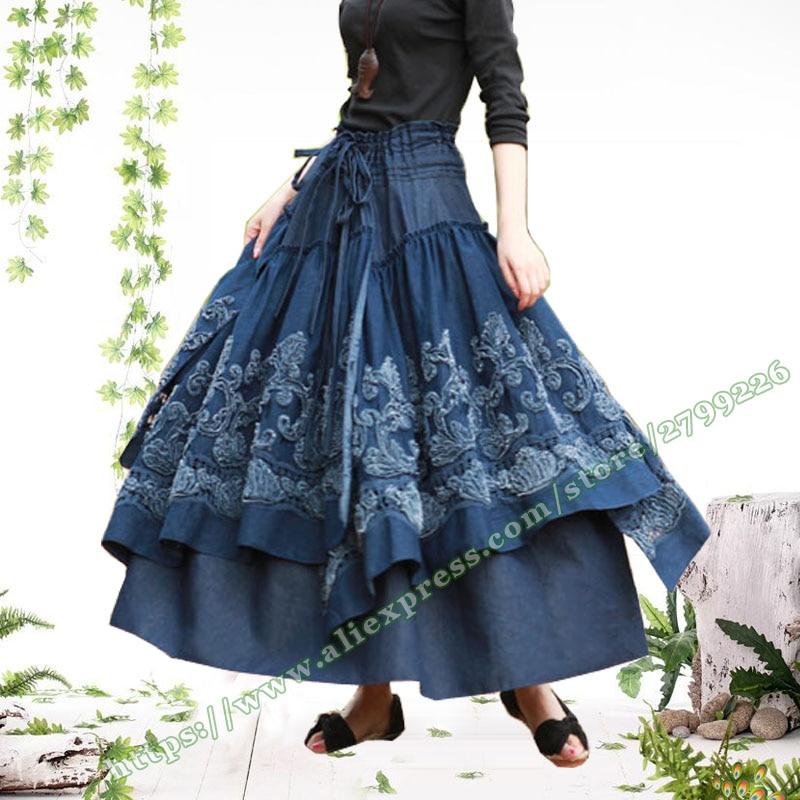 Autumn Winter Retro Female Skirt Designs Plus Size 6XL Lolita Vintage Casual 3D Flowers Tutu Denim Jeans Long Maxi Skirts Womens