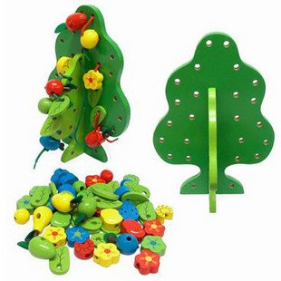 Candice guo! Hot sale educational wooden toy green fruit tree stringing beads game blocks children toys kids children wooden block toy gift wooden colorful tree marble ball run track game children educational learning preschool toy