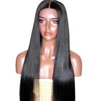 360 парики шнурка 150% предварительно сорвал Синтетические волосы на кружеве человеческих волос парики для женский, черный бразильский Прямо