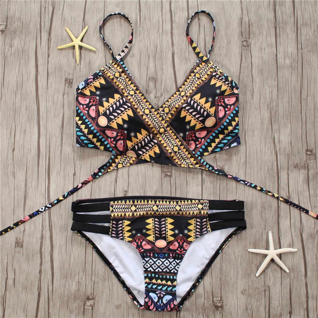 2018 Sexy Dalla Fasciatura Aztec Biquini Stringa Strappy Costumi Da Bagno Costume Da Bagno Costume Da Bagno Beachwear Costumi Da Bagno Delle Donne Bikini Brasiliano