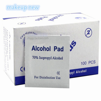 100pcs/lot Portable 100pcs/Box Alcohol Swabs Pads Wipes Antiseptic Cleanser Cleaning Sterilization First Aid Home makeup new 1