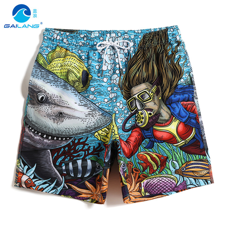 New Men's Summer Bathing suit People and Shark   Board     shorts   Sexy quick dry joggers Seabed swimwear liner Beach   shorts   Mesh