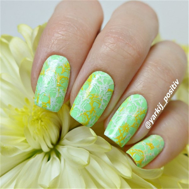 Flower girl umbrella Nail Art Stamping Template Image Plate BORN ...