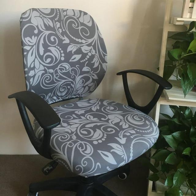 Отдельные Стиль стул офисный компьютер крышка мода печатных спандекс стрейч  Разделение крышка стула легко моющийся съемный fbad7f3566309