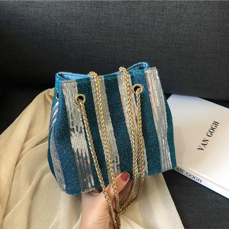 Ladies Handbag Chain Bucket Messenger-Bag Crossbody-Bag Sequins Luxury Designer Women