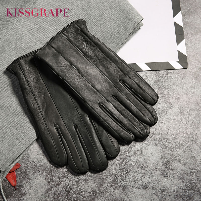 2019 Winter Warm Genuine Leather Gloves For Men Fashion Fingers Driving Gloves Male Outdoor Sheep Leather Guantes Black