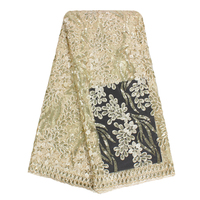 Bestway African French Lace With Sequins Embroidered French Lace Black Light Gold Red Tulle Cord Lace
