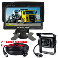 12 V 24 V 4Pin samochodów 18 IR LED Night Vision wodoodporna Backup kamera cofania + 7 Cal TFT LCD widok z tyłu monitora do autobusu ciężarówka RV w Kamery pojazdowe od Samochody i motocykle na
