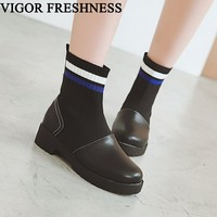 VIGOR FRESHNESS New Boots Women Shoes Ankle Boots Sock Elastics Low Heels Shoes Woman Boots Autumn Shoes Knitting Spring MY53