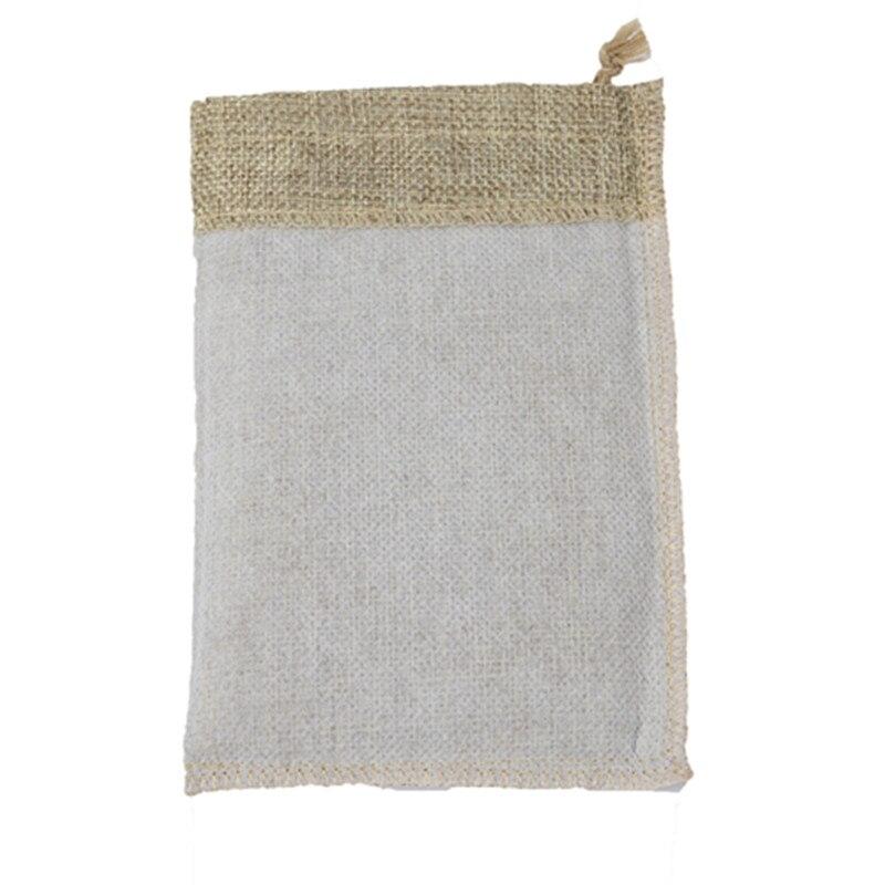 Купить с кэшбэком 10x15cm 100pcs/lot Jute Pouch linen Hessian hemp drawstring small gift packaging Bag Wedding ring jewelry packing pouch