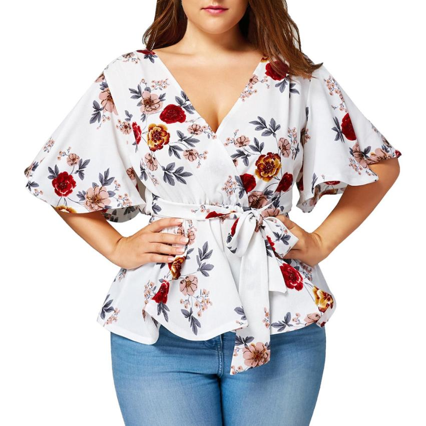 feitong 2018 New Hot Sale Spring Summer Women Fashion Sexy Floral Print Plus Size Belted Surplice Peplum V-Neck Casual Clothes