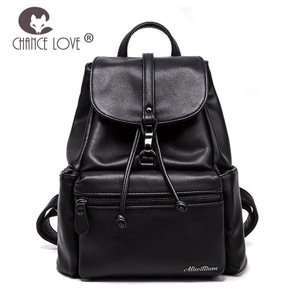все цены на Chance Love 2018 new Genuine leather backpack fashion trend black front pocket ladies casual black backpack female