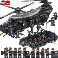Compatible Legoed 1351pcs Swat Team Model Building Blocks Chinook Transport Helicopter Educational Bricks Kids DIY Toys