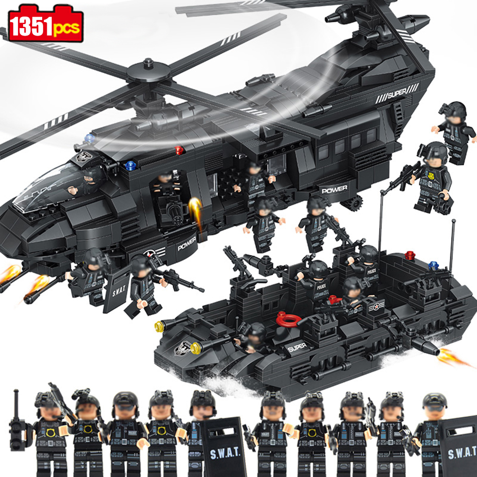 1351pcs military army Swat Police building blocks transport helicopter Compatible Legoed Star Wars Enlighten Bricks children Toy military swat team city police armed