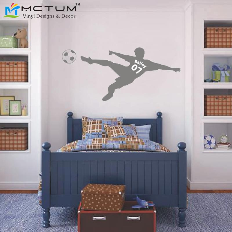 Football Wall Sticker Personalized Name U0026 Number Soccer Ball Poster Vinyl  PVC Decal Art Children Wall Stickers Kids Room Decor In Wall Stickers From  Home ... Part 95