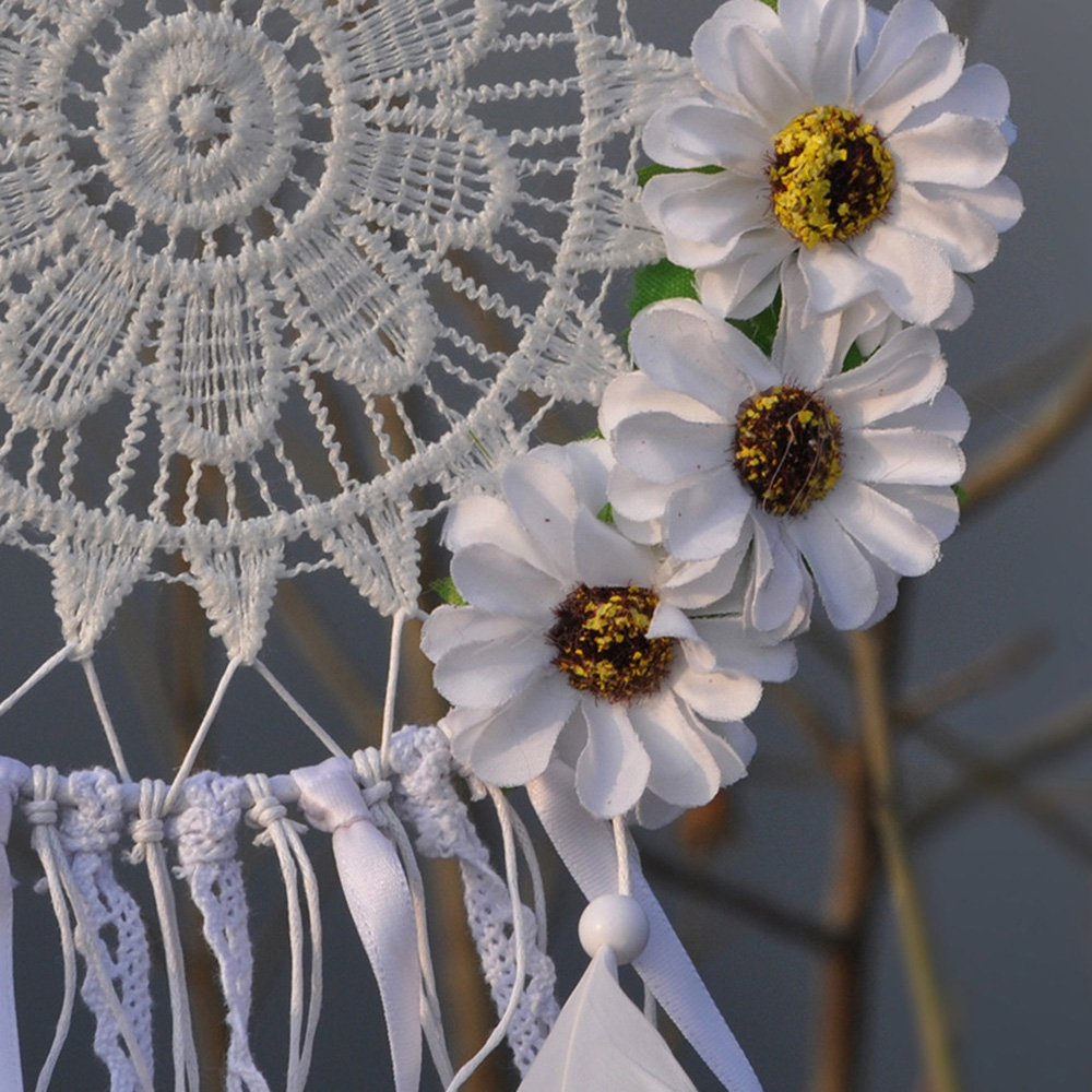 Lovely white lace flower dream catcher circular net feather indian lovely white lace flower dream catcher circular net feather indian handmade dreamcatcher wind chimes wall hanging decoration in wind chimes hanging mightylinksfo