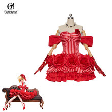 ROLECOS jeu destin Grand ordre déguisement Cosplay sabre rouge Nero Claudius deguisement Sexy robe dos nu rouge pour femme déguisement Cosplay(China)