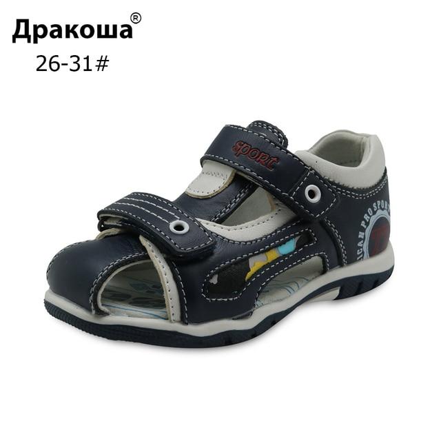 Apakowa חדש לגמרי 2018 בני סנדלי עור אמיתי ילדים של נעלי בני שטוח סגור הבוהן אורתופדיות ילדי סנדלי Eur 26 -31