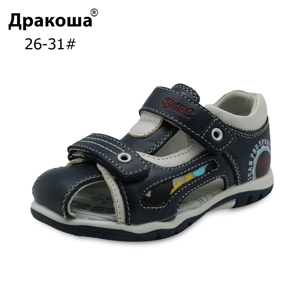 Apakowa Little Boys Summer Genuine Leather Sandals Children's Flat Shoes For Boys Kids Closed Toe Sports Beach Sandals Eur 26-31