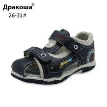 Летние сандалии Apakowa из натуральной кожи для маленьких мальчиков, детская обувь на плоской подошве для мальчиков, детские спортивные пляжные сандалии с закрытым носком, европейские размеры 26 31