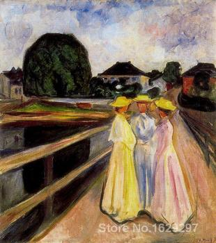 Three Girls on the Jetty Edvard Munch reproduction art High quality Handpainted