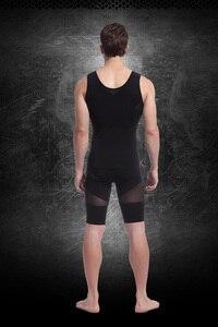 Image 4 - סקסי גברים של ההרזיה גוף shaper כושר אפוד גוף פיסול בגדי חזק רשת מותן מהדקי מעצבי לבן שחור