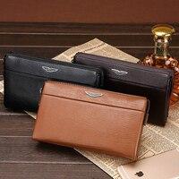 Kostenloser versand new fashion marke männer lange organizer brieftasche männlichen geldbörse messenger schulter taille tasche vollrindleder luxus