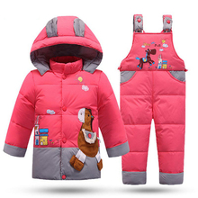 Winter Children's Snowsuit Boy Clothing Set Kids Down Jacket Overalls for Girl Baby Warm Park Hooded Coat+Pant Infant Overcoat