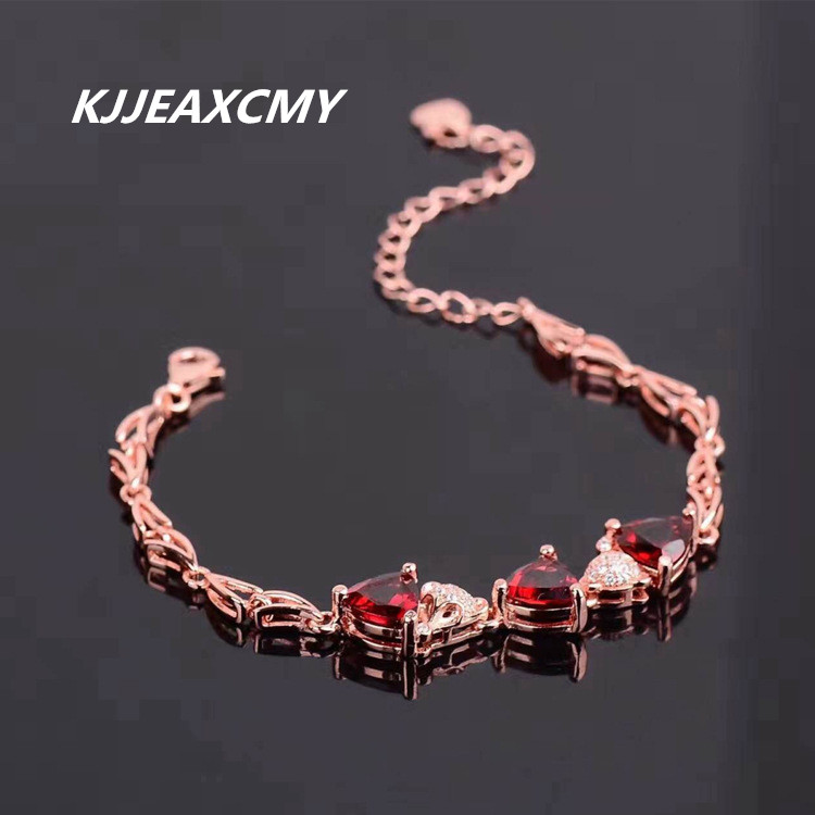 KJJEAXCMY 925 sterling silver crystal hand ornaments, natural garnet crystal, female bracelet, Crystal Silver Bracelet