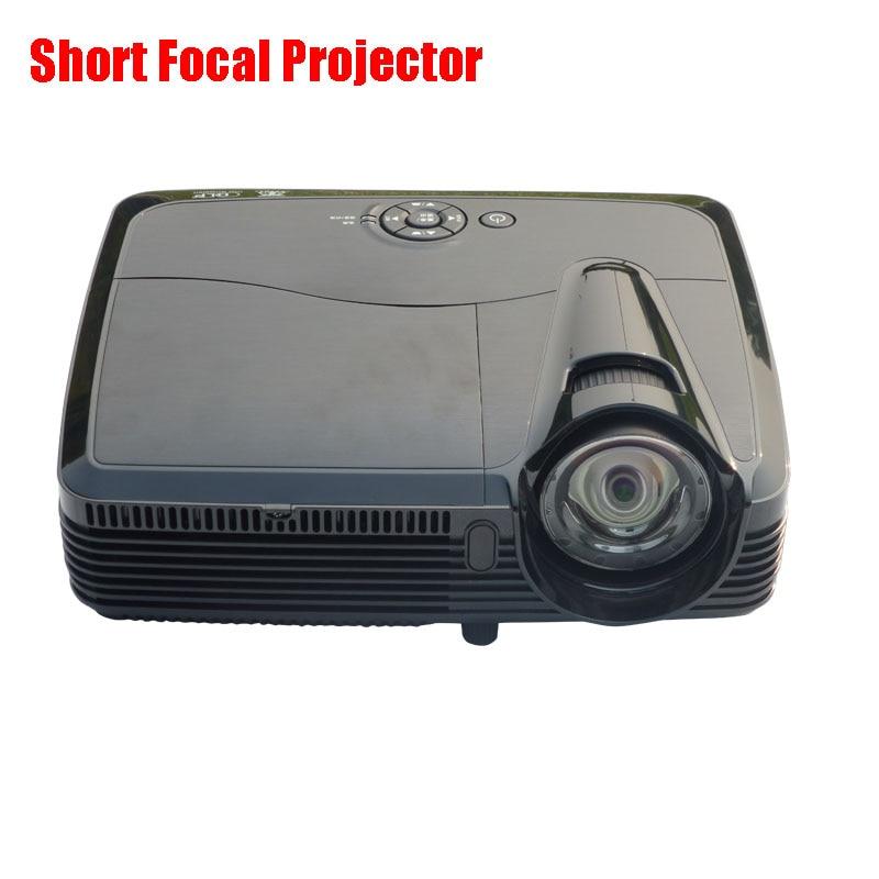 HD Short Focus DLP Projector 1024*768 Native Resolution 3600ANSI Lumens Home 3D Projector High Brightness Projector