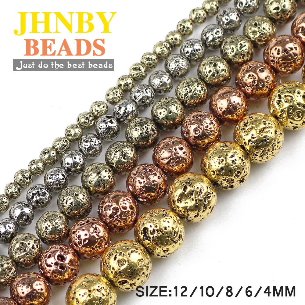 JHNBY Silver,Gold,Bronze <font><b>13</b></font> colors Natural Lava Stone Hematit 4/6/<font><b>8</b></font>/10/12MM Round Loose beads for Jewelry bracelets making DIY image