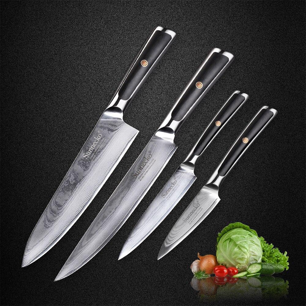 Sunnecko Nuovo 4 pz Damasco Coltelli Da Cucina Set Cuoco Affettare Utility Coltello da cucina Giapponese VG10 Acciaio G10 Maniglia Sharp a base di Carne taglierina
