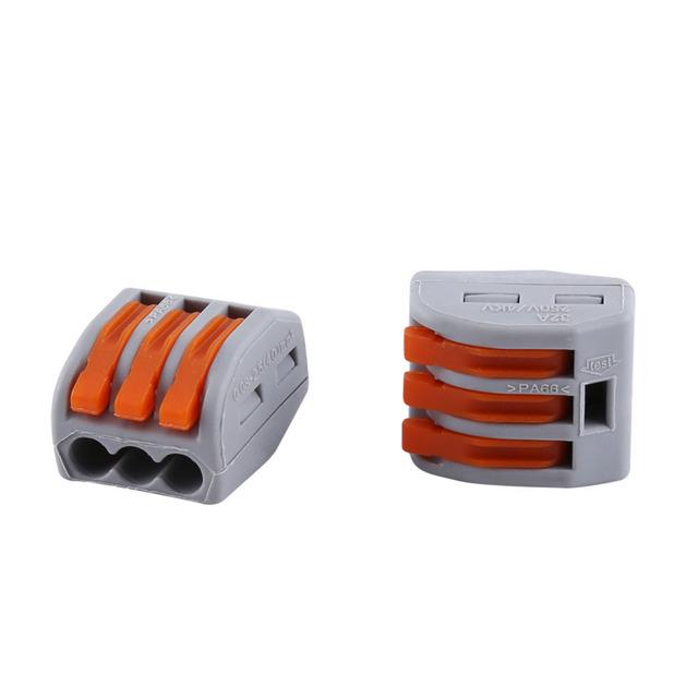20pcs 3 Way Reusable Spring Lever Terminal Block Electric Cable Connector Wire quick splice connector faston terminals