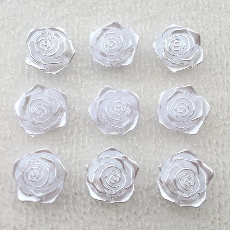 20 шт./лот 18 мм Белый Смола маленькая розы Flatback Кабошон DIY декоративные Scrapbooking-A970