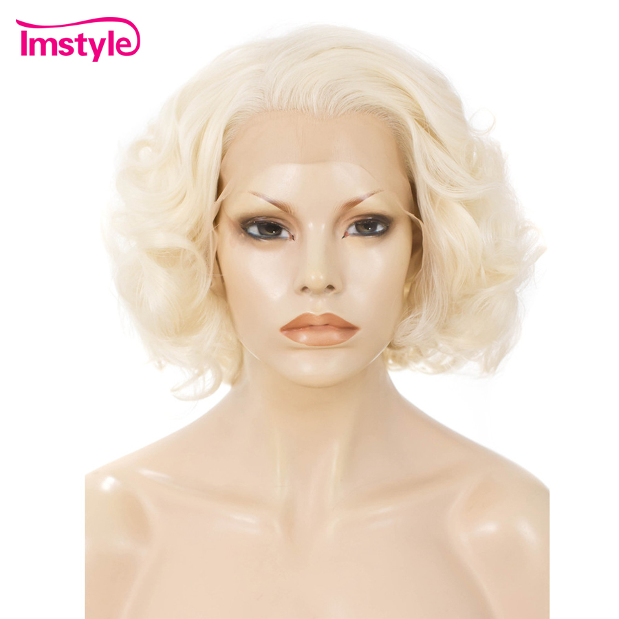 Imstyle Blond Lace Wigs Short Wig Synthetic Lace Front Wig For Women Heat Resistant Fiber Natural Hair Wavy Cosplay Glueless Wig