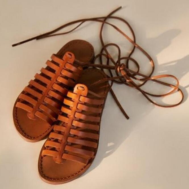 40e9023181693 Summer Hot Strappy Sandals Fashion Brown Leather Women Lace Up Sandals Rome  Style Ladies Flat Sandals Dress Shoes