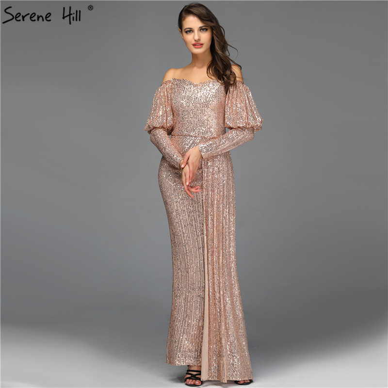Rose Gold Off Shoulder Mermaid Evening Dresses 2019 Sequined Long Sleeve Elegant Sexy Evening Gowns Serene Hill QA8029